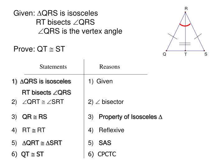 Given qrs is isosceles rt bisects qrs qrs is the vertex angle prove qt st