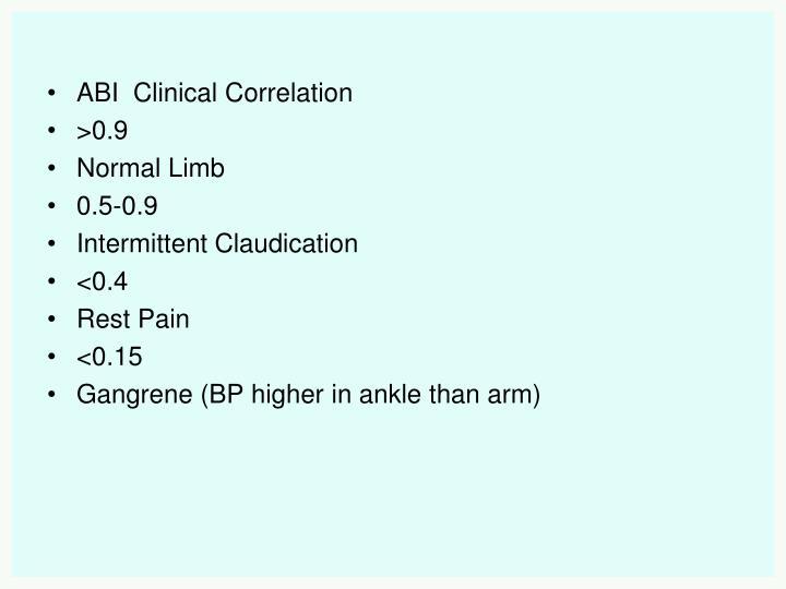 ABI  Clinical Correlation