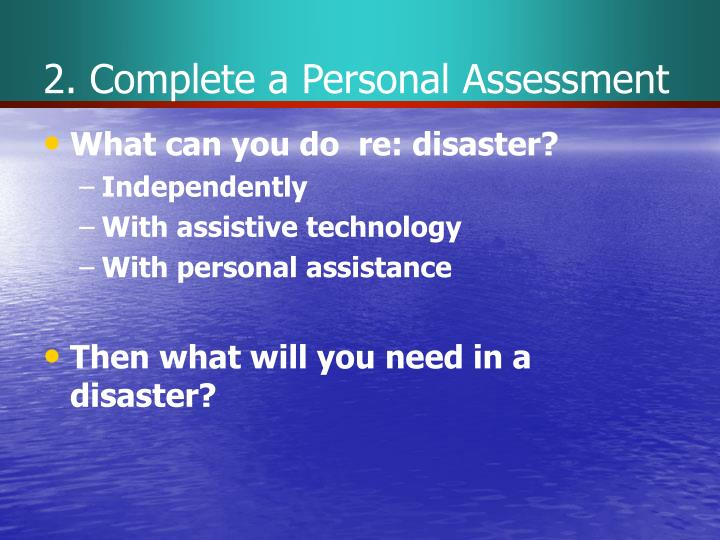 2. Complete a Personal Assessment