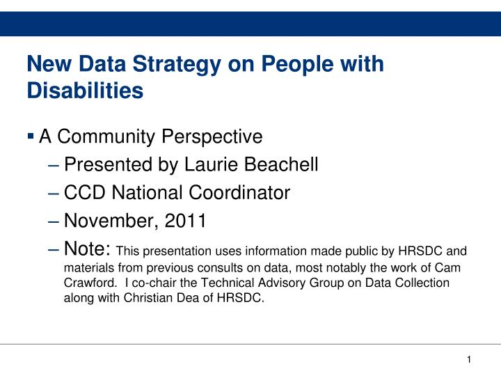 new data strategy on people with disabilities n.