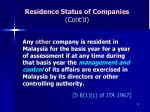 residence status of companies cont d