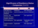 significance of residence status companies cont d
