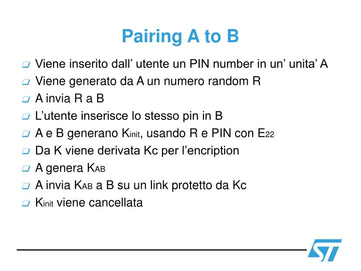 Pairing A to B