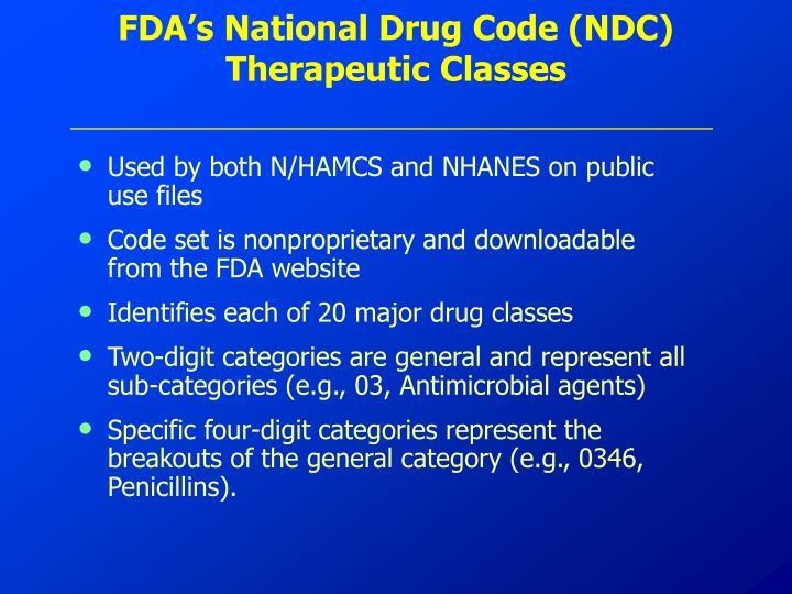 FDA's National Drug Code (NDC) Therapeutic Classes