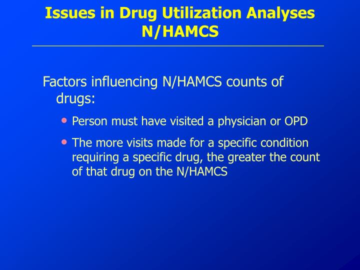 Issues in Drug Utilization Analyses