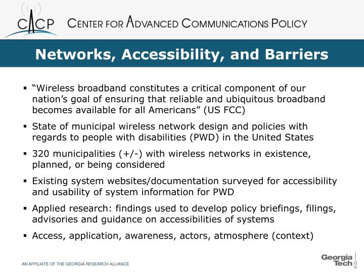 Networks accessibility and barriers