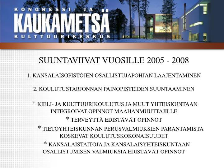 SUUNTAVIIVAT VUOSILLE 2005 - 2008
