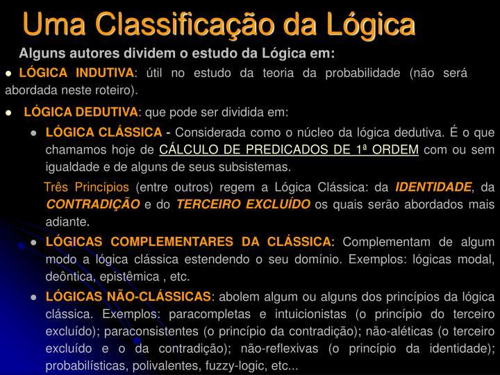 Uma Classificação da Lógica