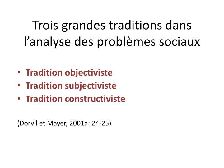 trois grandes traditions dans l analyse des probl mes sociaux n.