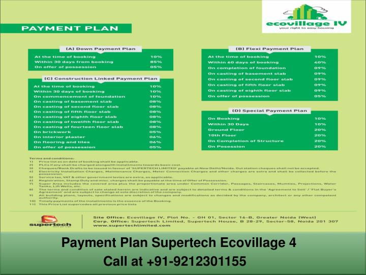 Payment Plan Supertech Ecovillage 4