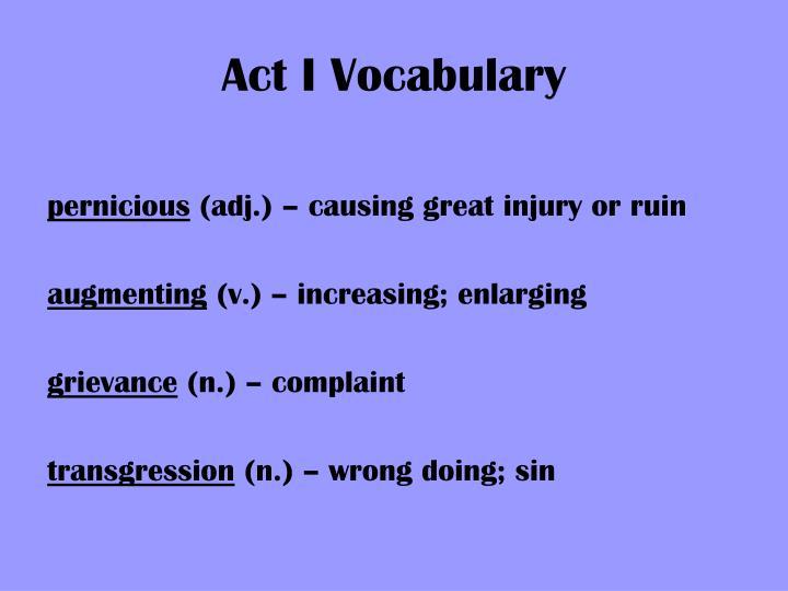 Act I Vocabulary