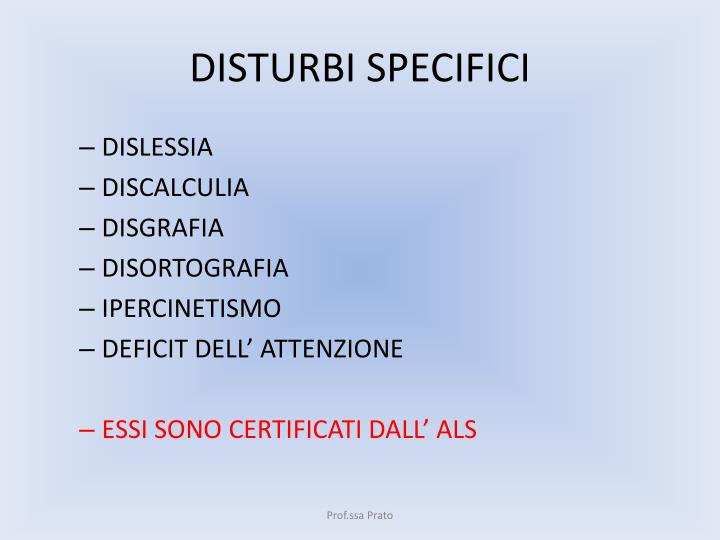 Disturbi specifici