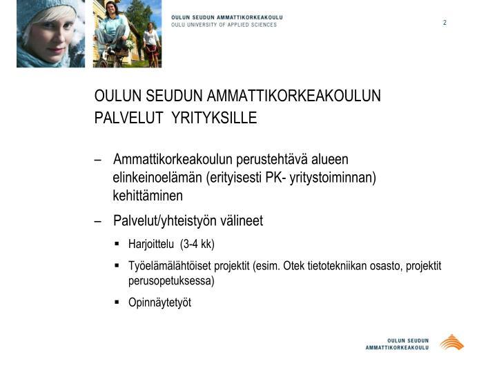 Oulun seudun ammattikorkeakoulun palvelut yrityksille