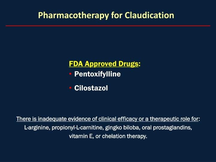 Pharmacotherapy for Claudication