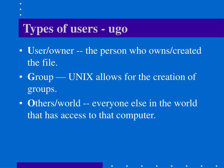 Types of users - ugo