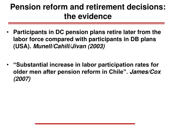 Pension reform and retirement decisions: the evidence