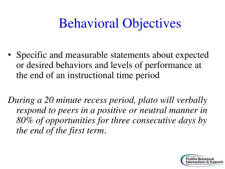 Behavioral Objectives