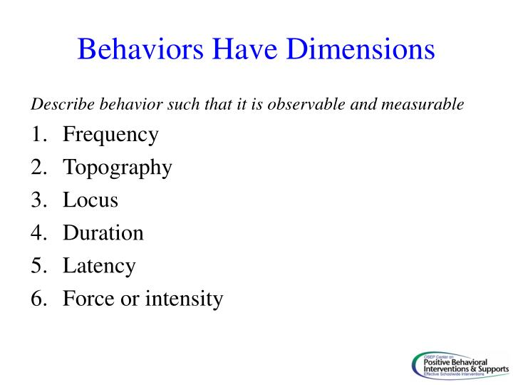 Behaviors Have Dimensions