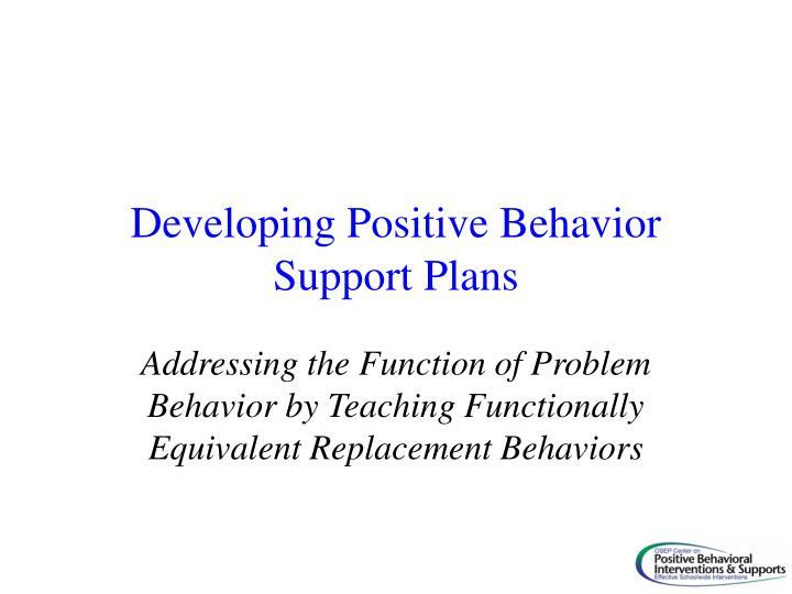 Developing Positive Behavior Support Plans