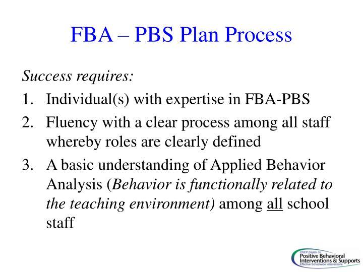 FBA – PBS Plan Process