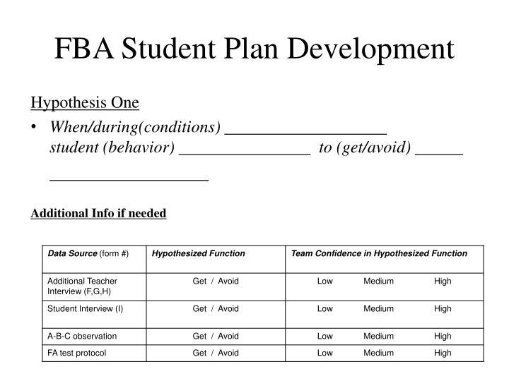 FBA Student Plan Development