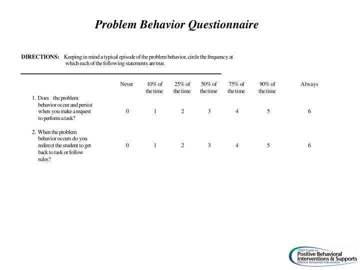Problem Behavior Questionnaire
