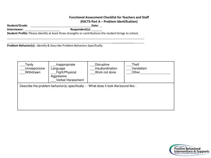 Functional Assessment Checklist for Teachers and Staff
