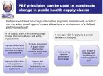 pbf principles can be used to accelerate change in public health supply chains