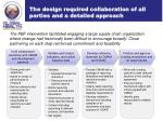 the design required collaboration of all parties and a detailed approach