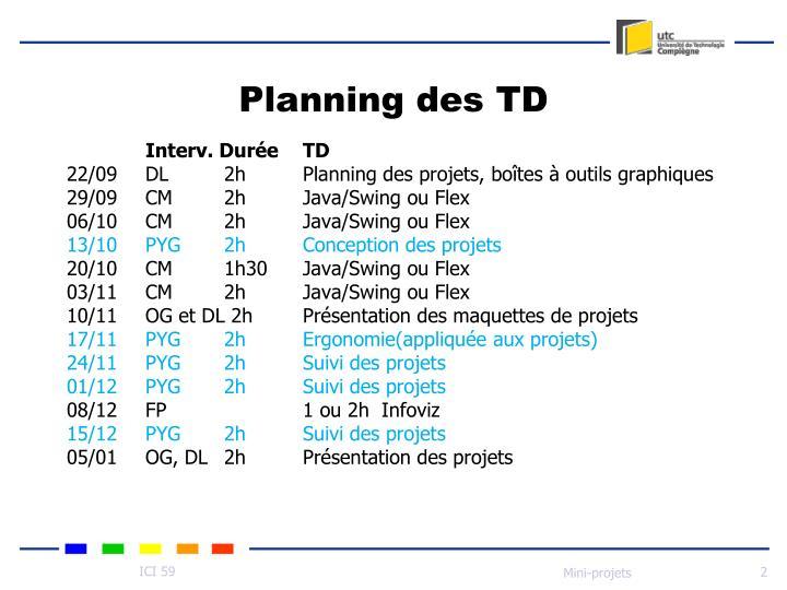 Planning des td
