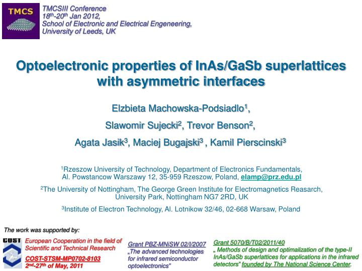 optoelectronic properties of inas gasb superlattices with asymmetric interfaces n.