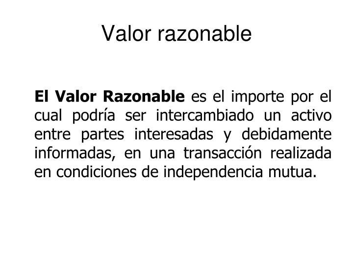 Valor razonable