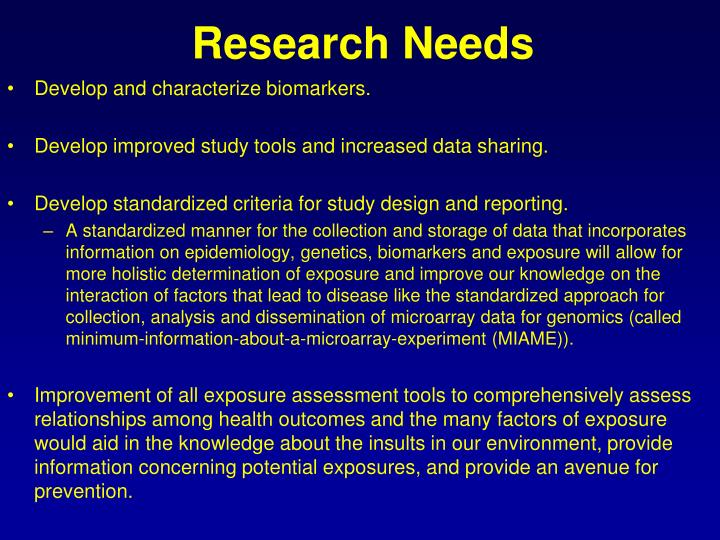 Research Needs