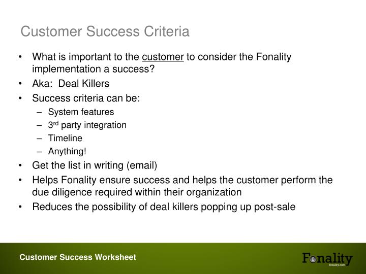 Customer Success Criteria