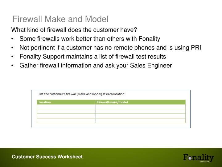 Firewall Make and Model