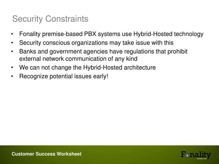 Security Constraints