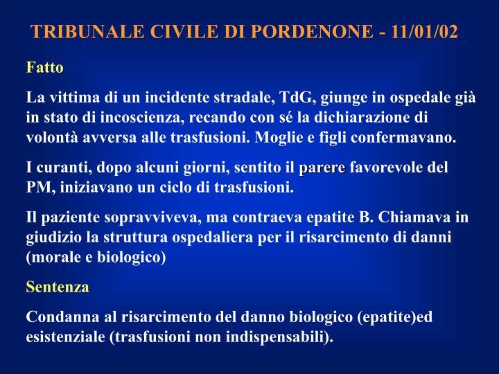 TRIBUNALE CIVILE DI PORDENONE - 11/01/02