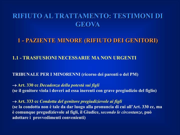 RIFIUTO AL TRATTAMENTO: TESTIMONI DI GEOVA