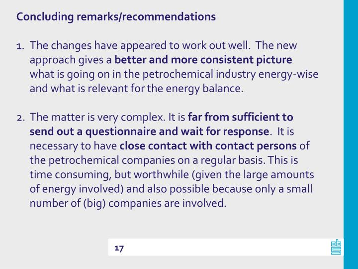 Concluding remarks/recommendations