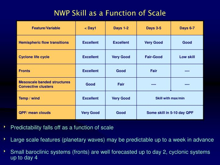 NWP Skill as a Function of Scale
