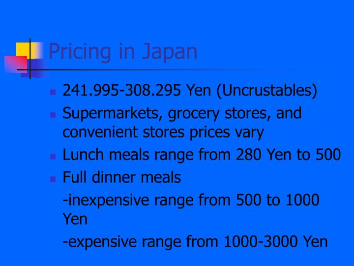 Pricing in Japan