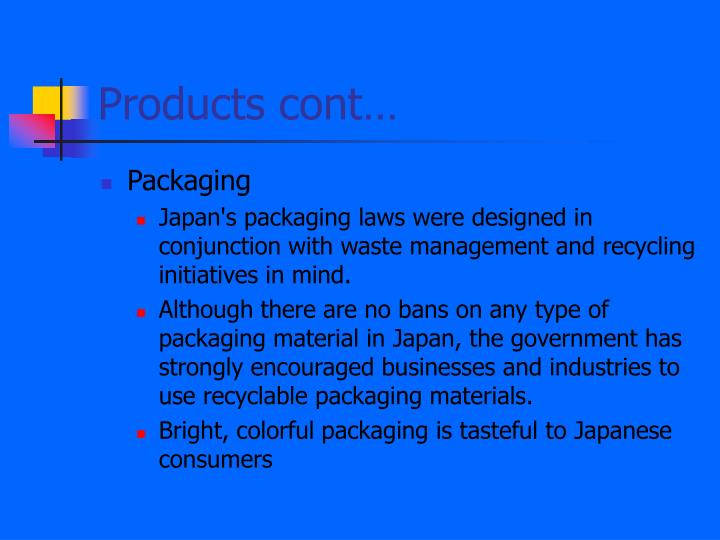 Products cont…