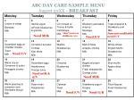 abc day care sample menu august 20xx breakfast
