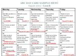 abc day care sample menu august 20xx lunch