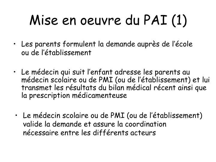 Mise en oeuvre du PAI (1)