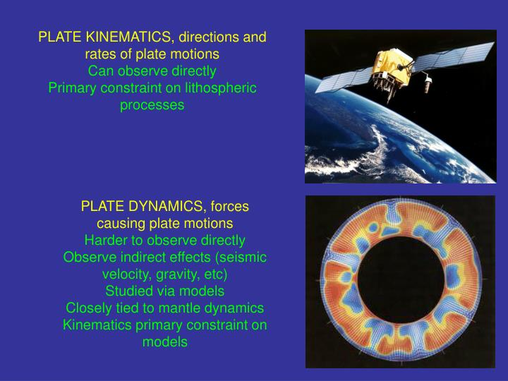 PLATE KINEMATICS, directions and rates of plate motions