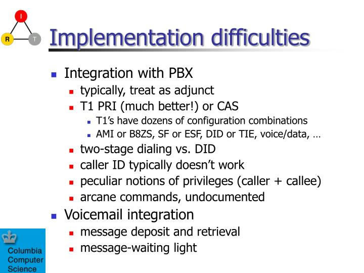 Implementation difficulties