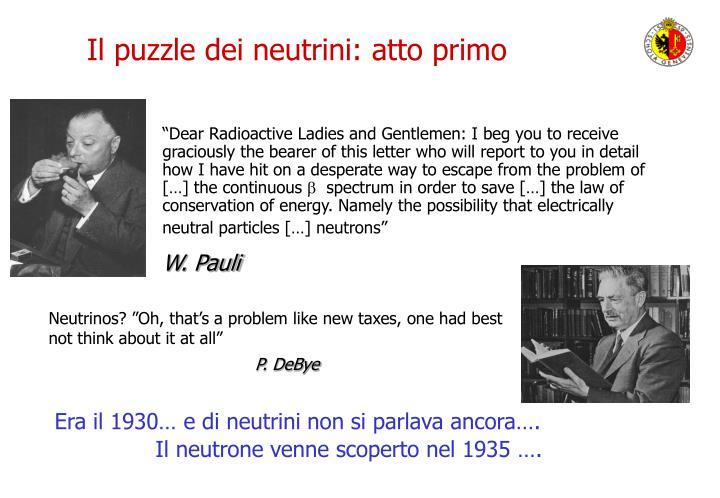Il puzzle dei neutrini: atto primo