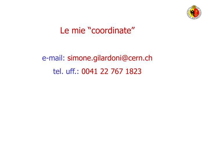 """Le mie """"coordinate"""""""