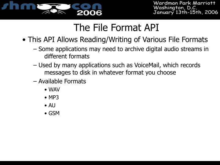 The File Format API